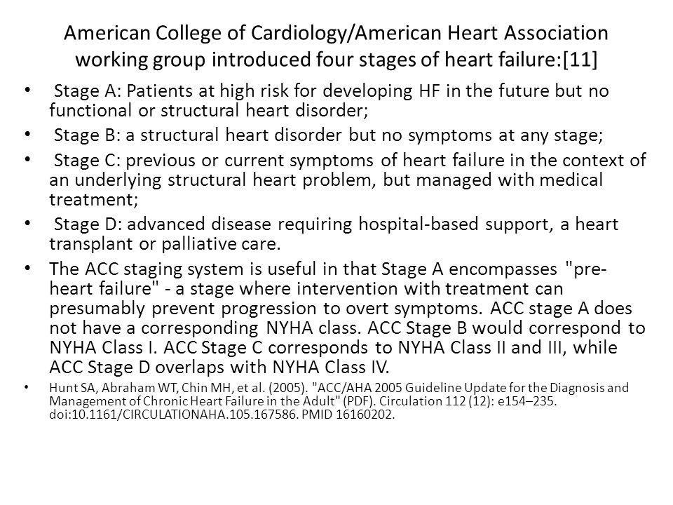 American College of Cardiology/American Heart Association working group introduced four stages of heart failure:[11]